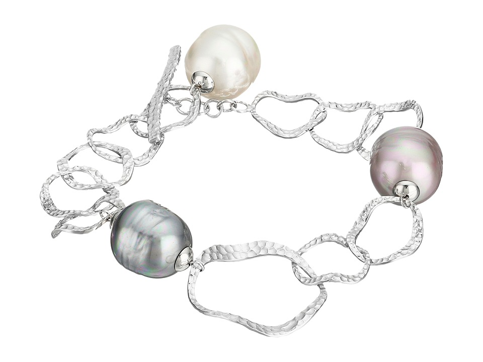 Majorica - Baroque Pearl Hammered Bracelet (Silver/Multi) Bracelet