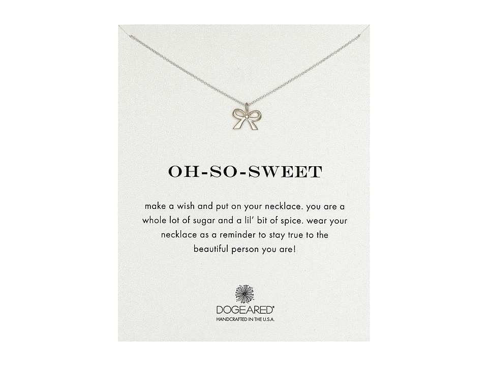 Dogeared - Oh-So-Sweet Bow Reminder Necklace (Sterling Silver) Necklace