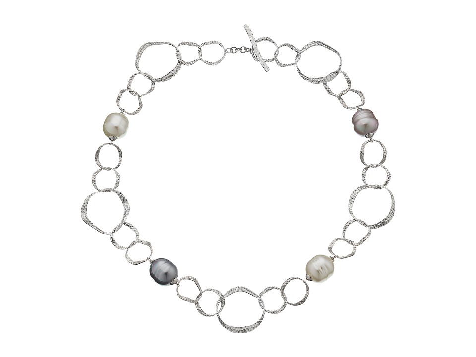 Majorica - Baroque Pearl Hammered Necklace (Silver/Multi) Necklace