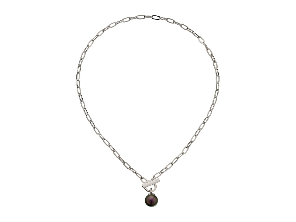 Majorica - 12mm SS w/ Small Oval Necklace (Silver/Tahitian) Necklace