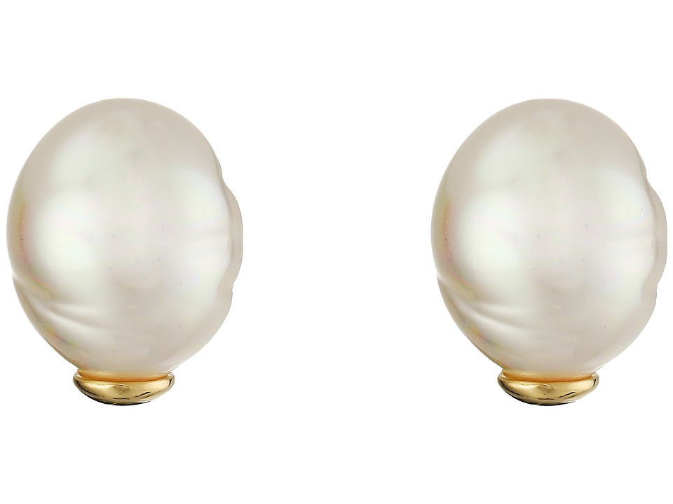 Majorica - Baroque Pearl Stud Earrings (White) Earring
