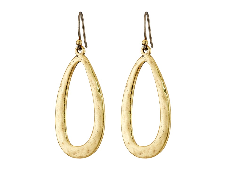 Lucky Brand - Oval Textred Hoop Earrings (Gold) Earring