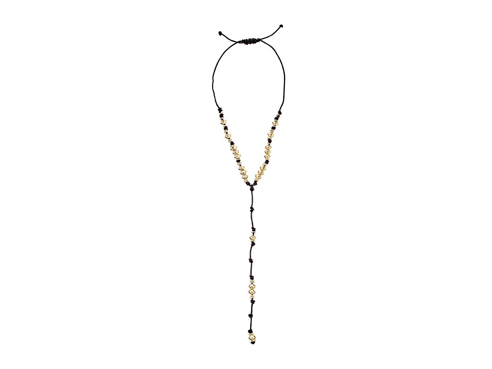 Sam Edelman - Knotted Bead Y Necklace (Black/Gold) Necklace