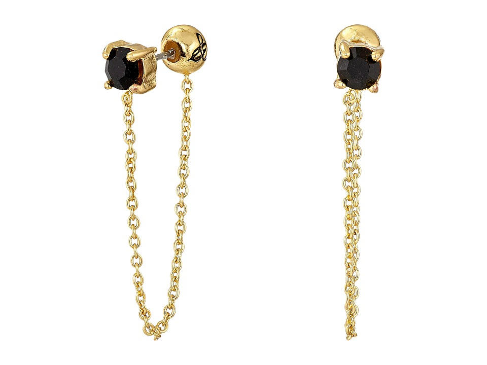 Sam Edelman - Stone Front Back Chain Earrings (Black/Gold) Earring