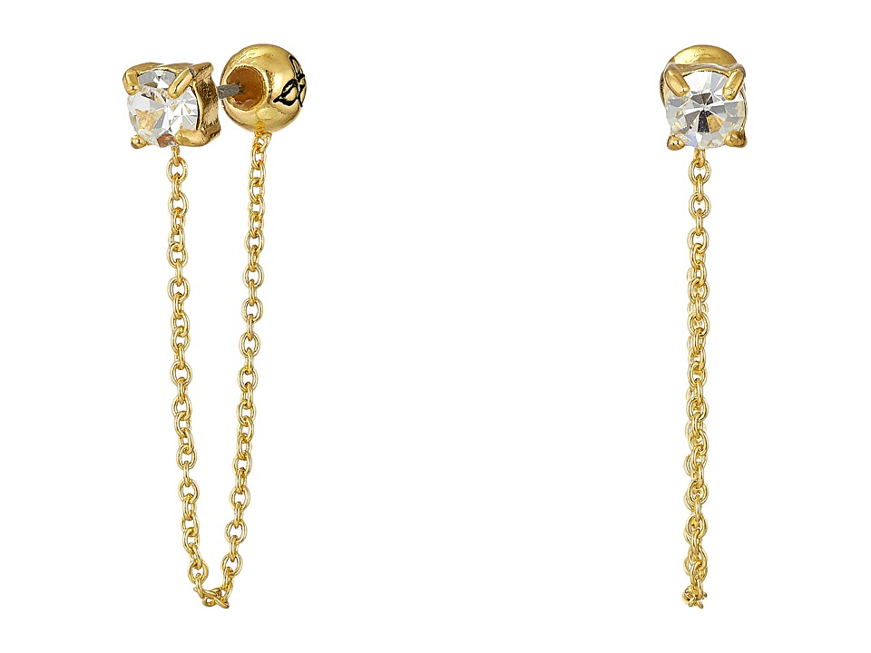 Sam Edelman - Stone Front Back Chain Earrings (Crystal/Gold) Earring