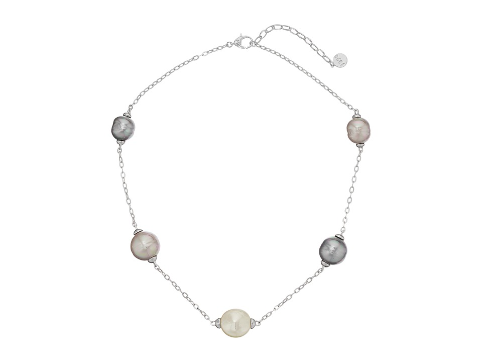 Majorica - Baroque and Coin Pearl Illusion Necklace (Silver/Multi) Necklace