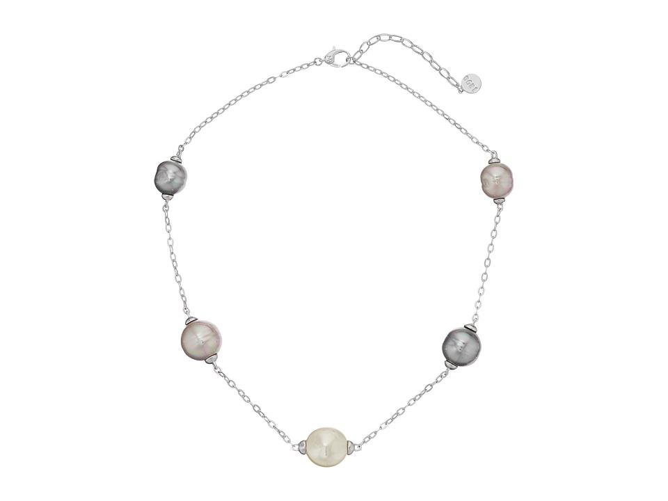 Majorica - Baroque and Coin Pearl Illusion Necklace (Silver/Multi) Necklace