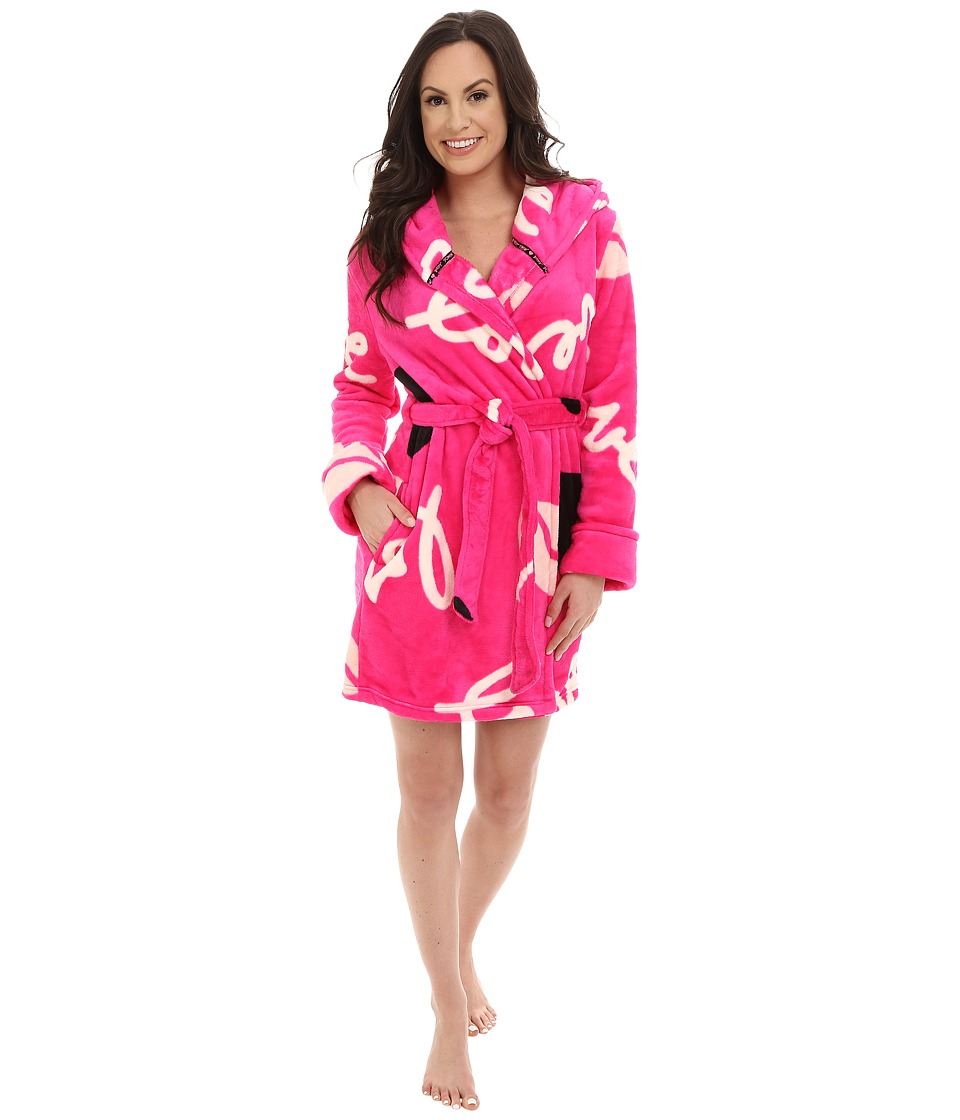 Betsey Johnson - Pop Art Love Plush Robe (Pop Art Love Cosmo Pink) Women
