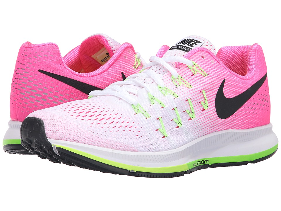 Nike - Air Zoom Pegasus 33 (White/Pink Blast/Electric Green/Black) Women's Running Shoes