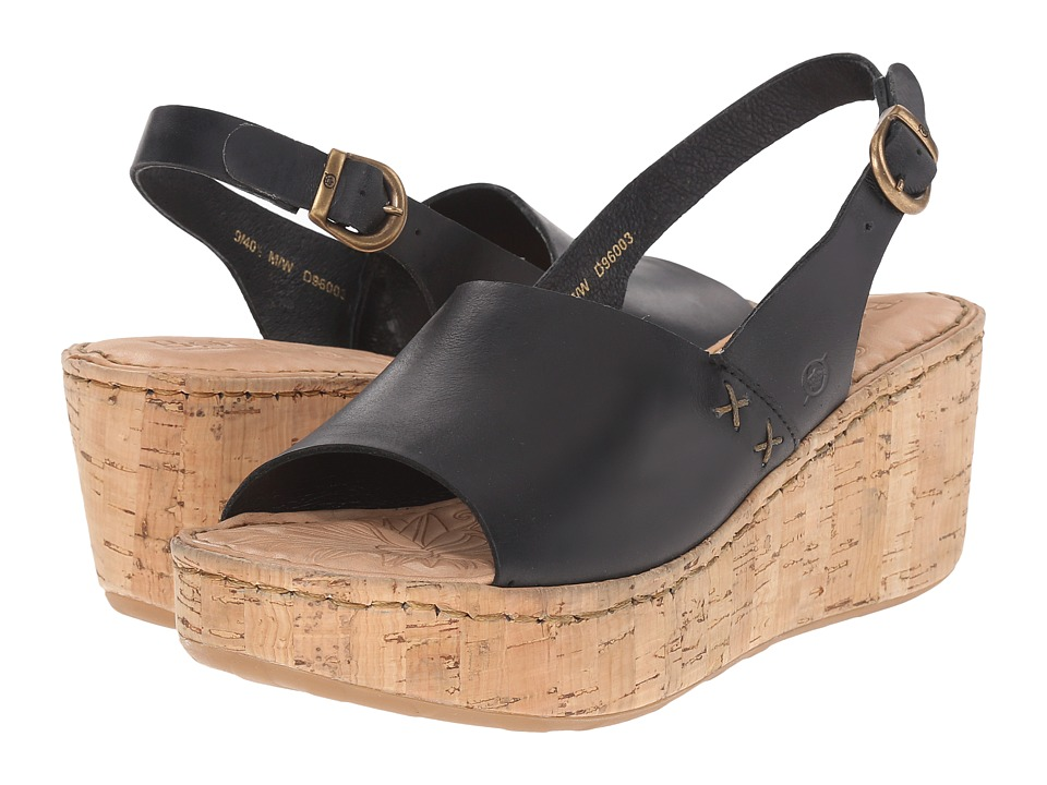 Born - Lynda (Black Full Grain Leather) Women's Wedge Shoes