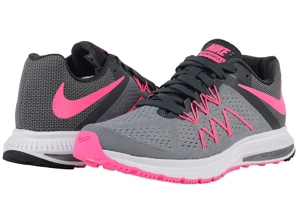 Nike - Zoom Winflo 3 (Cool Grey/Anthracite/Wolf Grey/Pink Blast) Women's Running Shoes