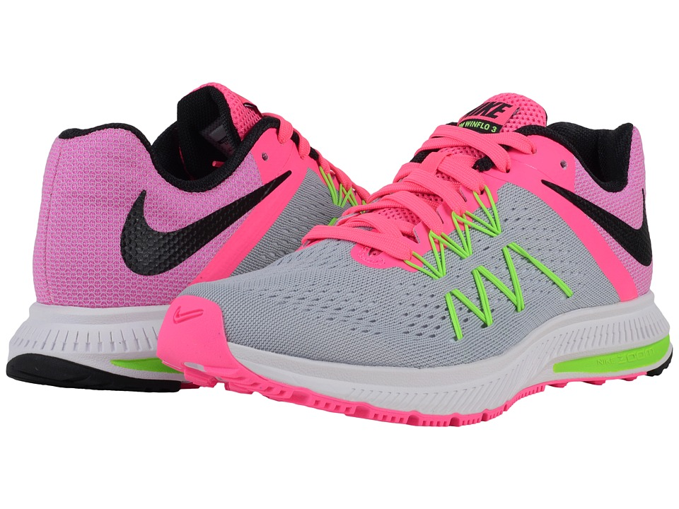 Nike - Zoom Winflo 3 (Wolf Grey/Pink Blast/Electric Green/Black) Women's Running Shoes