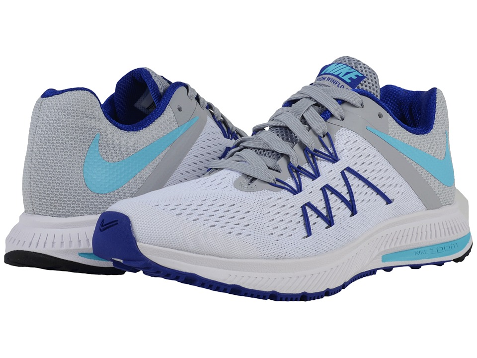 Nike - Zoom Winflo 3 (White/Wolf Grey/Concord/Gamma Blue) Women's Running Shoes
