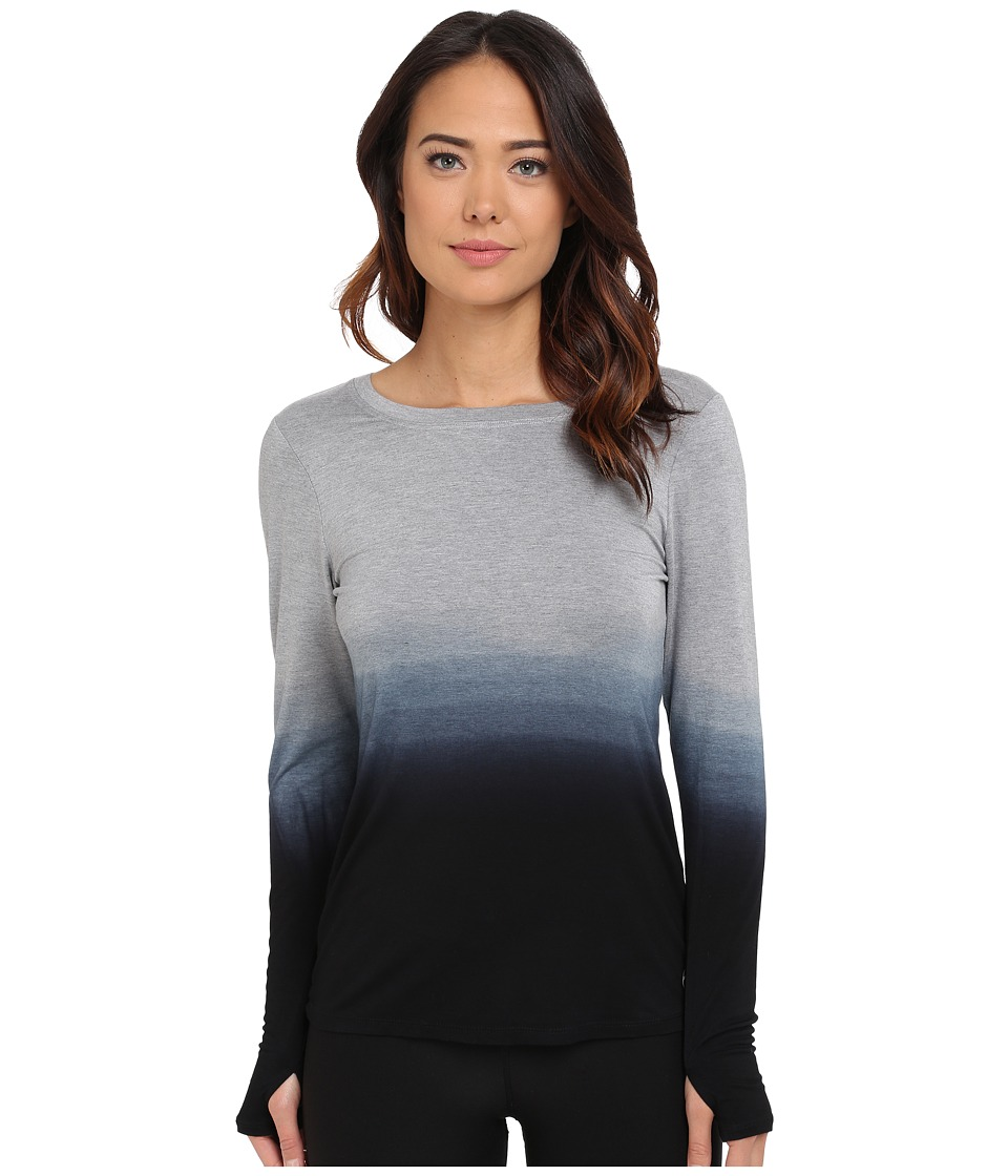 Trina Turk - Ombre Jersey Twist Back Long Sleeve Top (Black) Women's Long Sleeve Pullover
