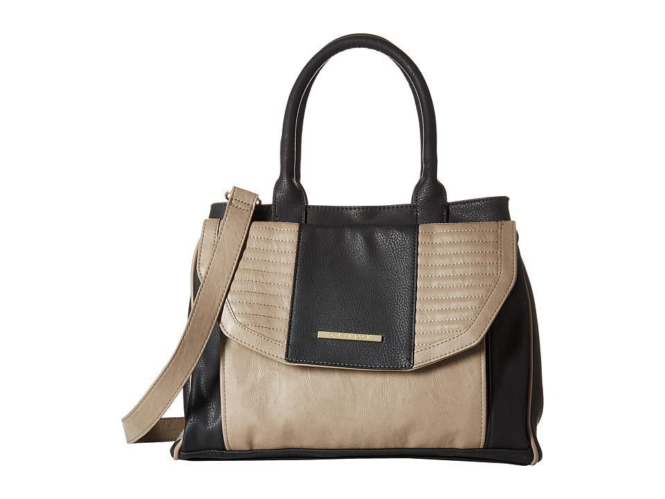 Steve Madden - Bbelieve Triple Compartment Satchel (Black/Taupe Pebble Distressed) Satchel Handbags