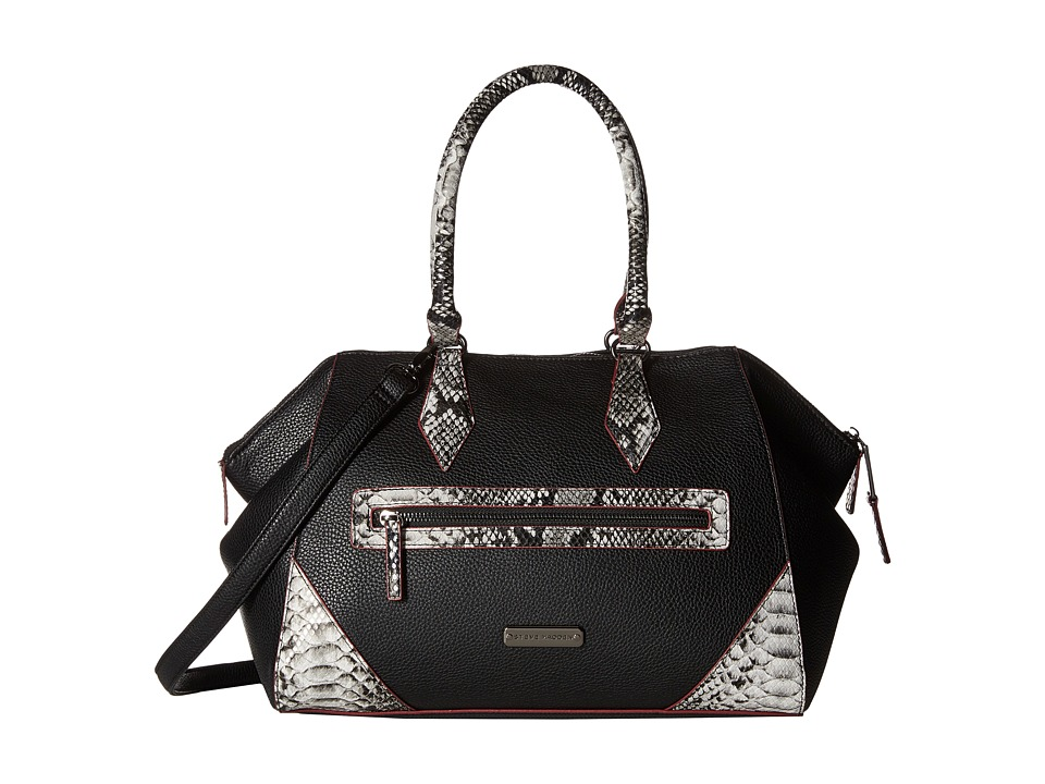 Steve Madden - Bflye Satchel (Black/White Snake/Wine) Satchel Handbags