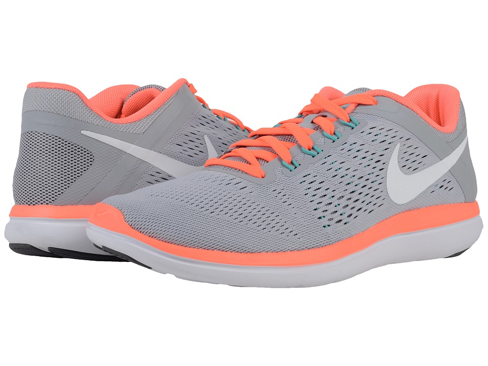 Nike - Flex 2016 RN (Wolf Grey/Dark Grey/Bright Mango/White) Women's Running Shoes