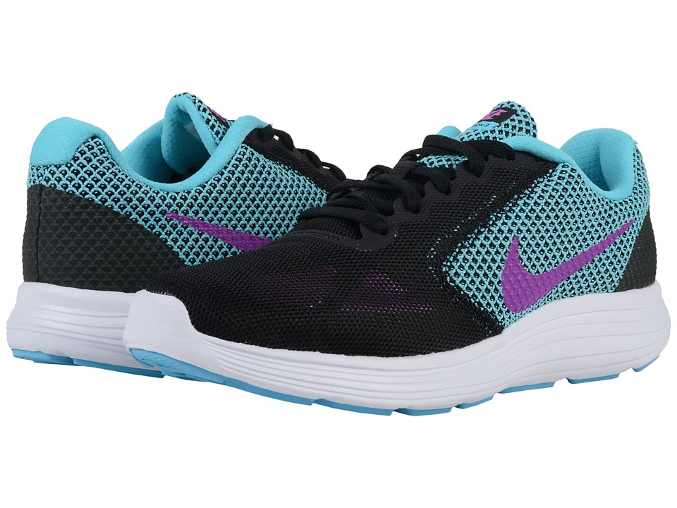 Nike - Revolution 3 (Black/Gamma Blue/White/Hyper Violet) Women's Running Shoes