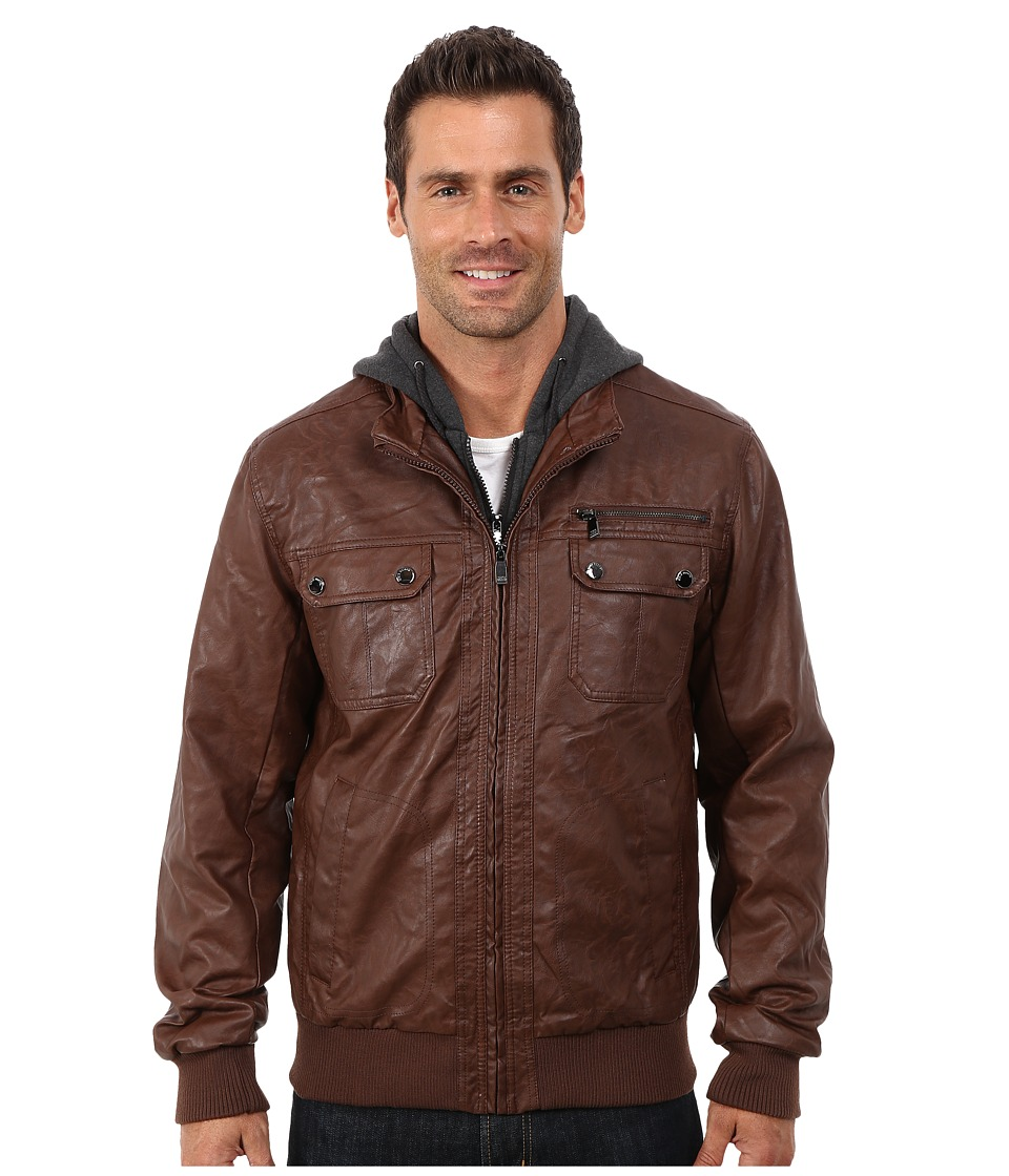 Steve Madden - PU Jacket (Brown) Men's Coat