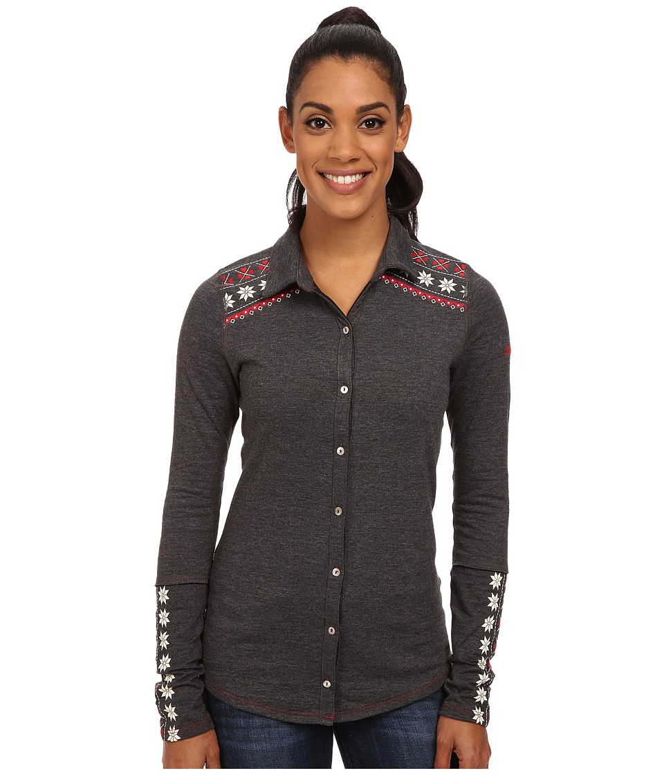 Image of Alp-n-Rock - Fair Isle Button Down (Heather Black) Women's Long Sleeve Button Up