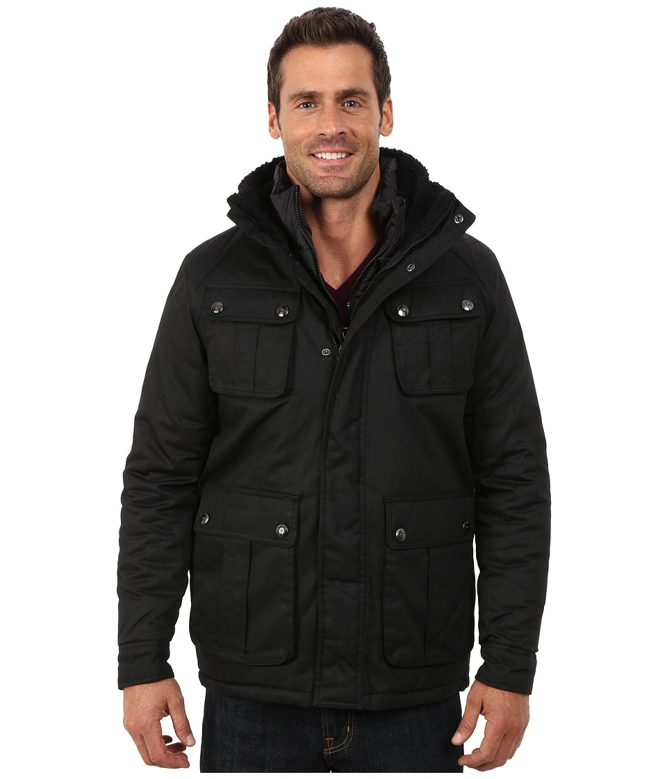 Steve Madden - Cotton Wax Coted Jacket (Black) Men's Coat