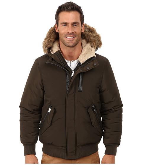 Steve Madden - Poly Woven PU Coated Jacket (Olive) Men's Coat