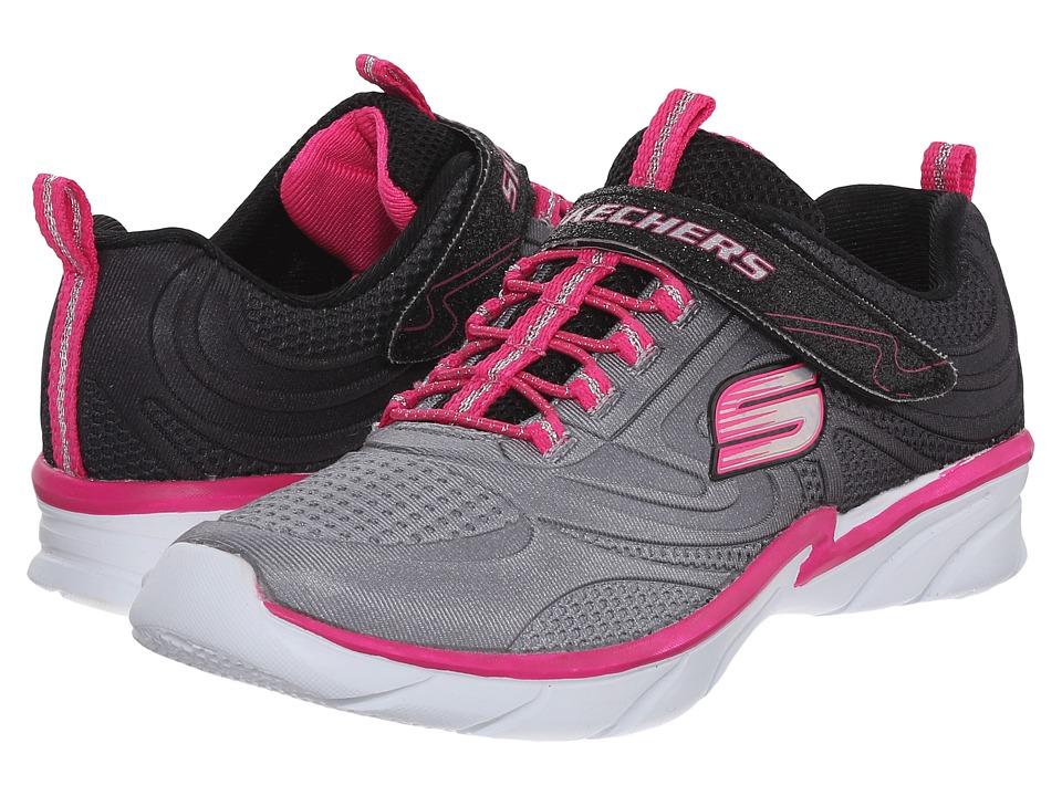 SKECHERS KIDS - Swirly Shine Vibe (Little Kid/Big Kid) (Black/Neon Pink) Girls Shoes