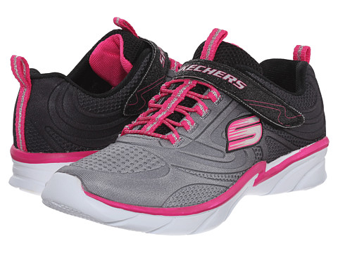 SKECHERS KIDS - Swirly Shine Vibe (Little Kid/Big Kid) (Black/Neon Pink) Girls Shoes