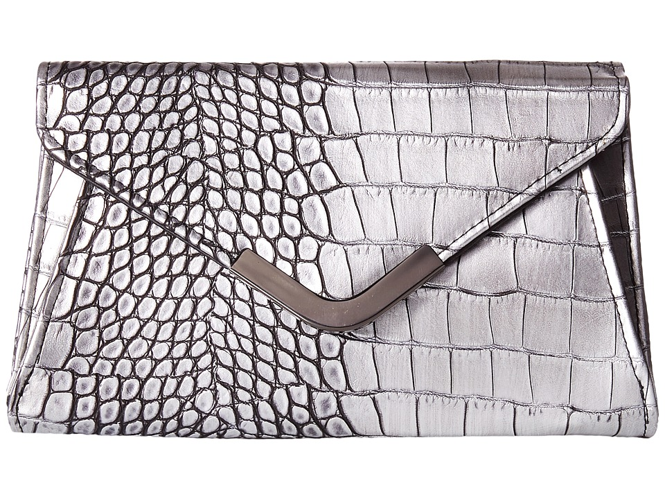 Jessica McClintock - Lily Croco Small Envelope Clutch (Pewter) Cross Body Handbags