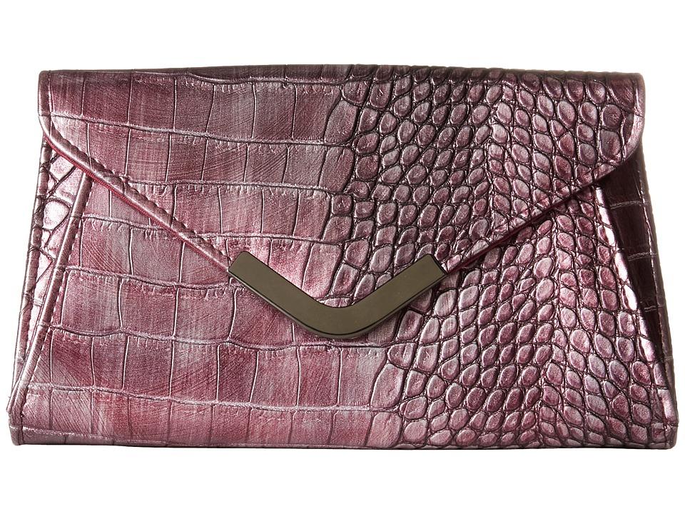 Jessica McClintock - Lily Croco Small Envelope Clutch (Wine) Cross Body Handbags