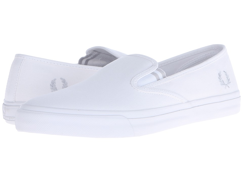 Fred Perry - Turner Slip-On Canvas (White/Dolphin) Men's Slip on Shoes