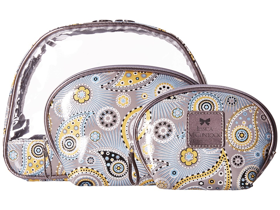 Jessica McClintock - Rita Three-Piece Dome Cosmetic Set (Starlight Dream Paisley Silver) Cosmetic Case