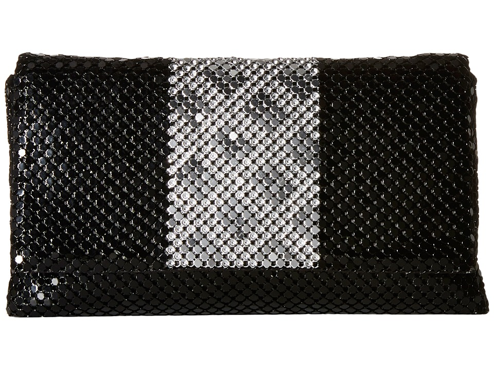 Jessica McClintock - Nina Fold-Over Flap Clutch (Black/Silver) Clutch Handbags