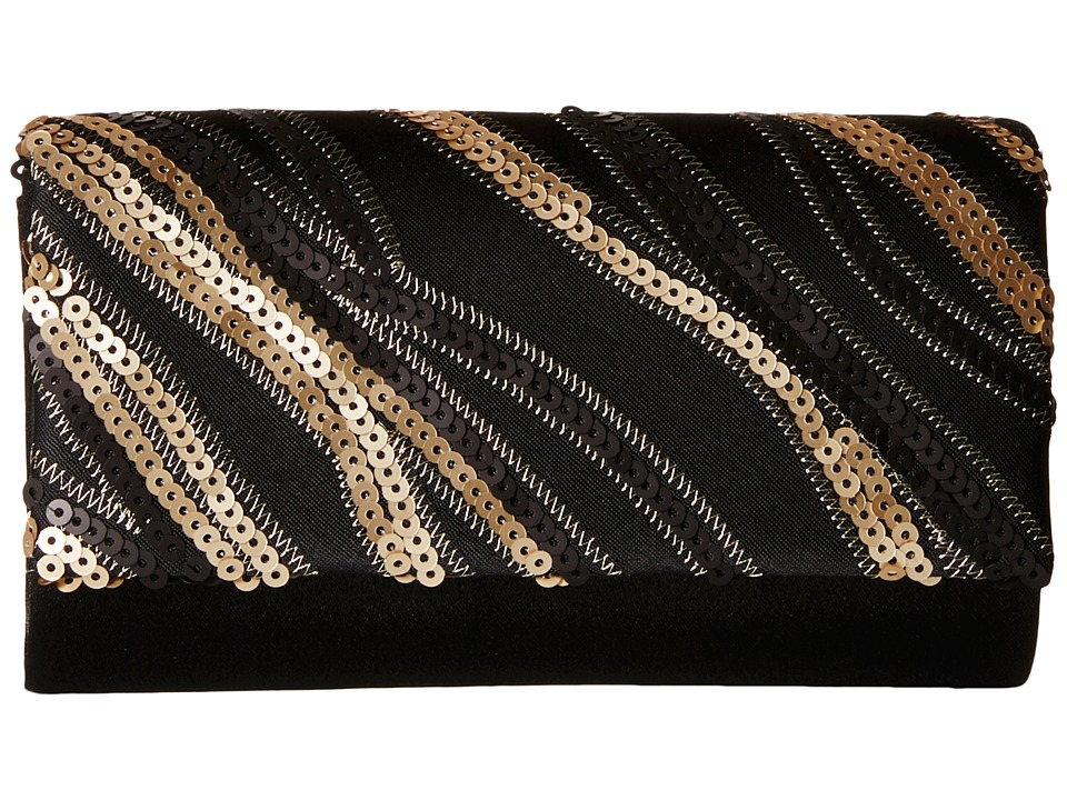 Jessica McClintock - Chloe Fold-Over Sequin Clutch (Black) Clutch Handbags