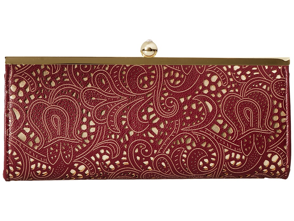 Jessica McClintock - Carla Metallic Lace Framed Clutch (Wine) Clutch Handbags