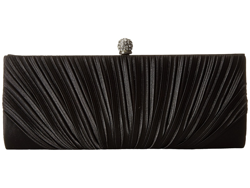 Jessica McClintock - Flora Satin Rouched Framed Clutch (Black) Clutch Handbags