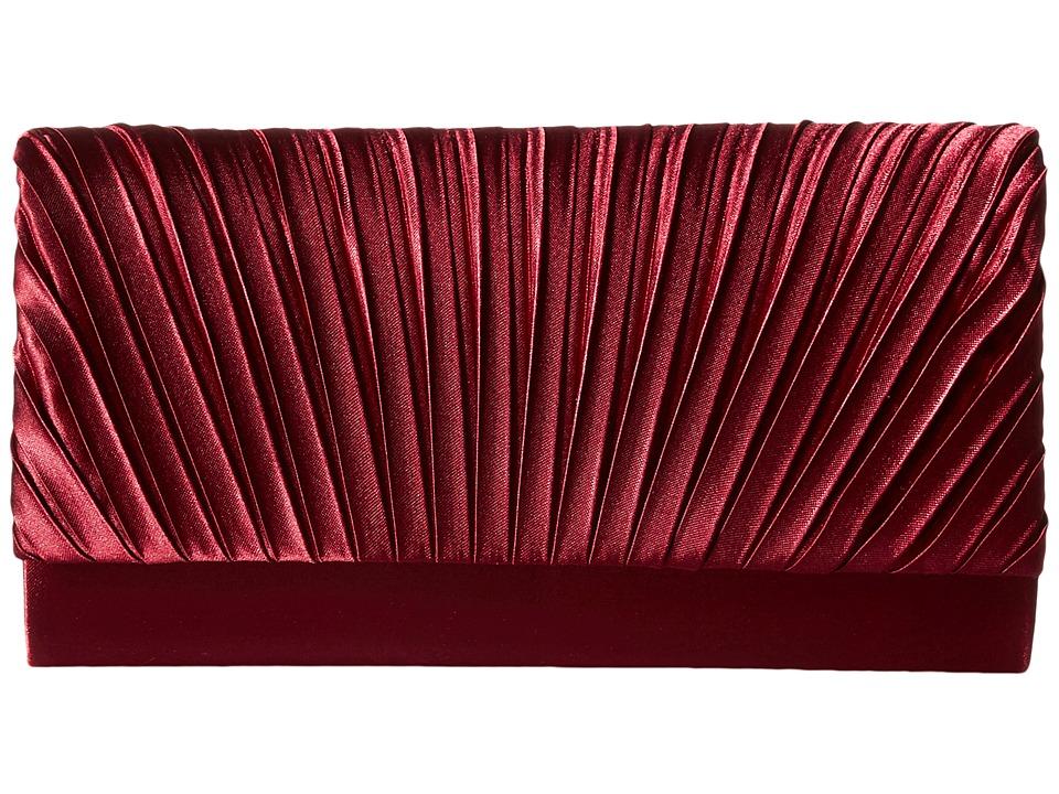 Jessica McClintock - Ella Satin Rouched Fold-Over Flap (Marsala) Clutch Handbags