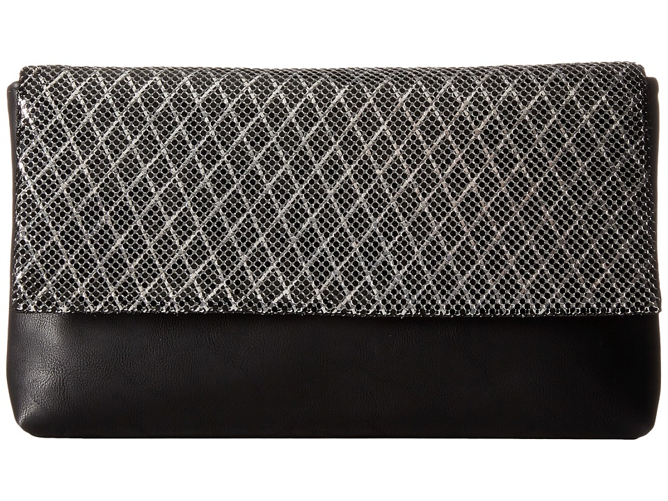 Jessica McClintock - Carlee Large Fold-Over Clutch (Black/Silver) Clutch Handbags