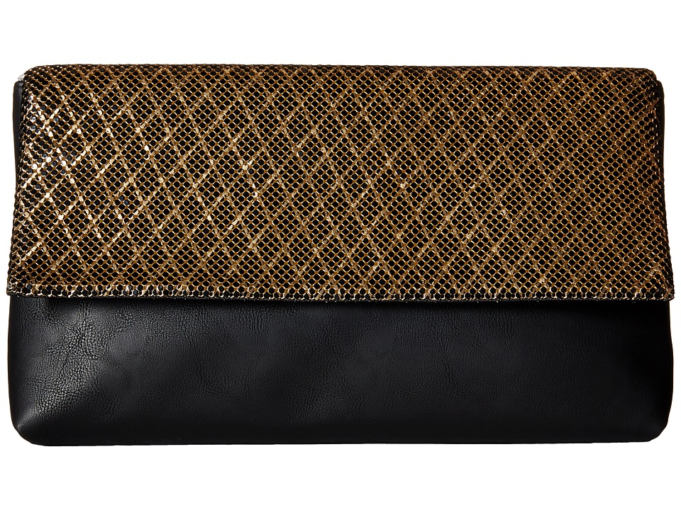 Jessica McClintock - Carlee Large Fold-Over Clutch (Black/Gold) Clutch Handbags
