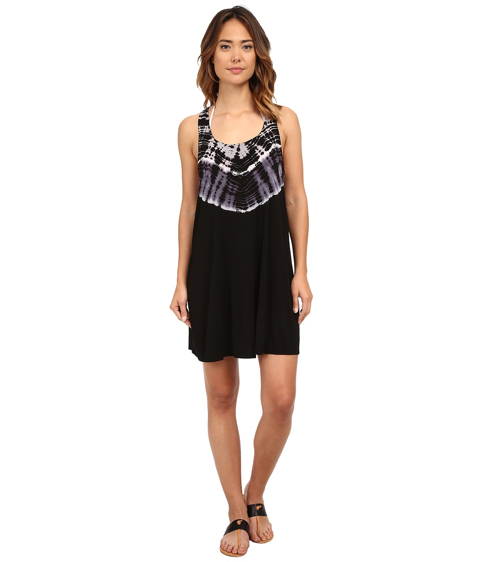 Lucky Brand - Half Moon Dress Cover-Up (Black) Women's Swimwear