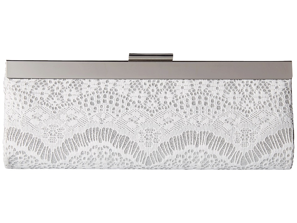 Jessica McClintock - Kylie Framed Lace Clutch (White/Silver) Clutch Handbags