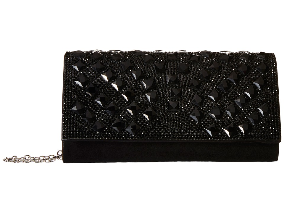 Jessica McClintock - Chloe Fold-Over Crystal Clutch (Black) Clutch Handbags