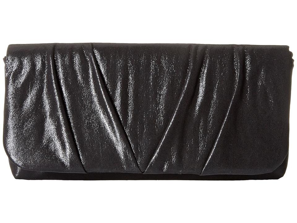 Jessica McClintock - Sienna Fold-Over Flap Clutch (Black) Clutch Handbags