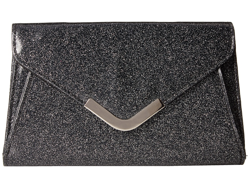Jessica McClintock - Lily Small Glittered Envelope Clutch (Black) Clutch Handbags