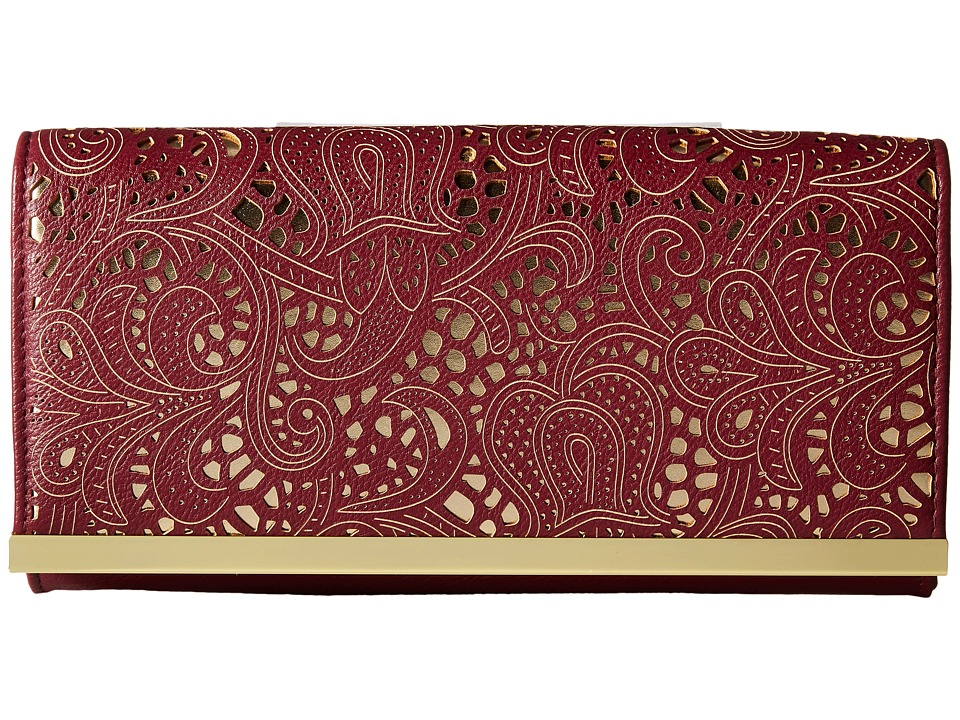 Jessica McClintock - Addison Fold-Over Flap Clutch (Wine) Clutch Handbags