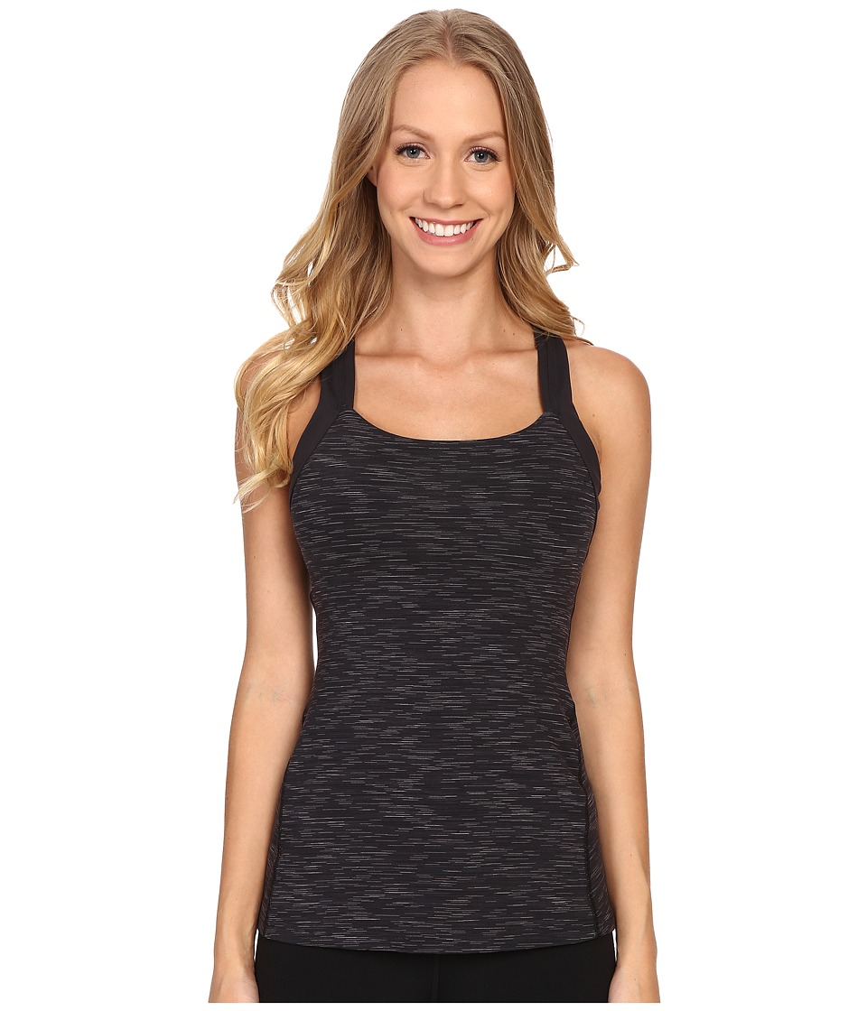 Lucy - Fitness Fix Tank Top (Lucy Black Spacedye Stripe) Women's Sleeveless