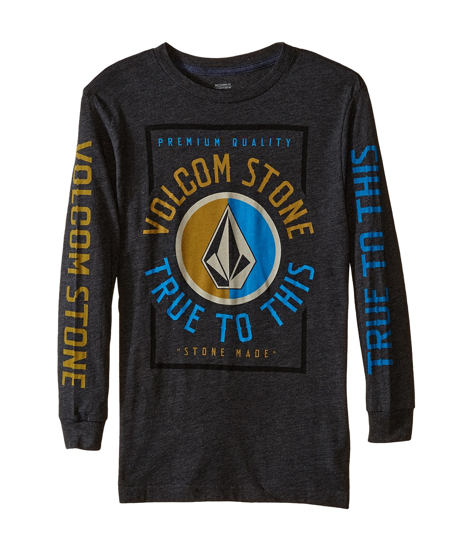 Volcom Kids - Marune Long Sleeve Tee (Big Kids) (Heather Black) Boy's T Shirt