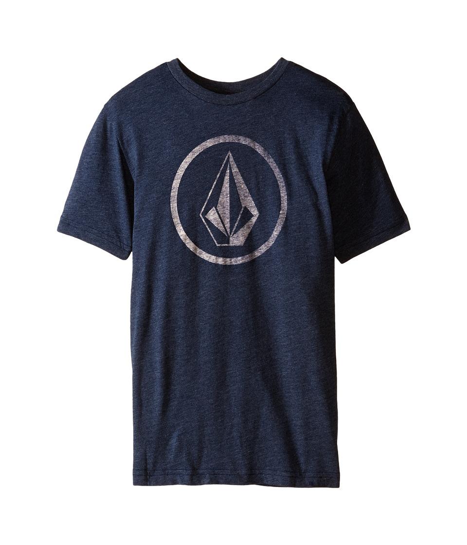 Volcom Kids - New Circle Short Sleeve Tee (Big Kids) (Navy) Boy's T Shirt