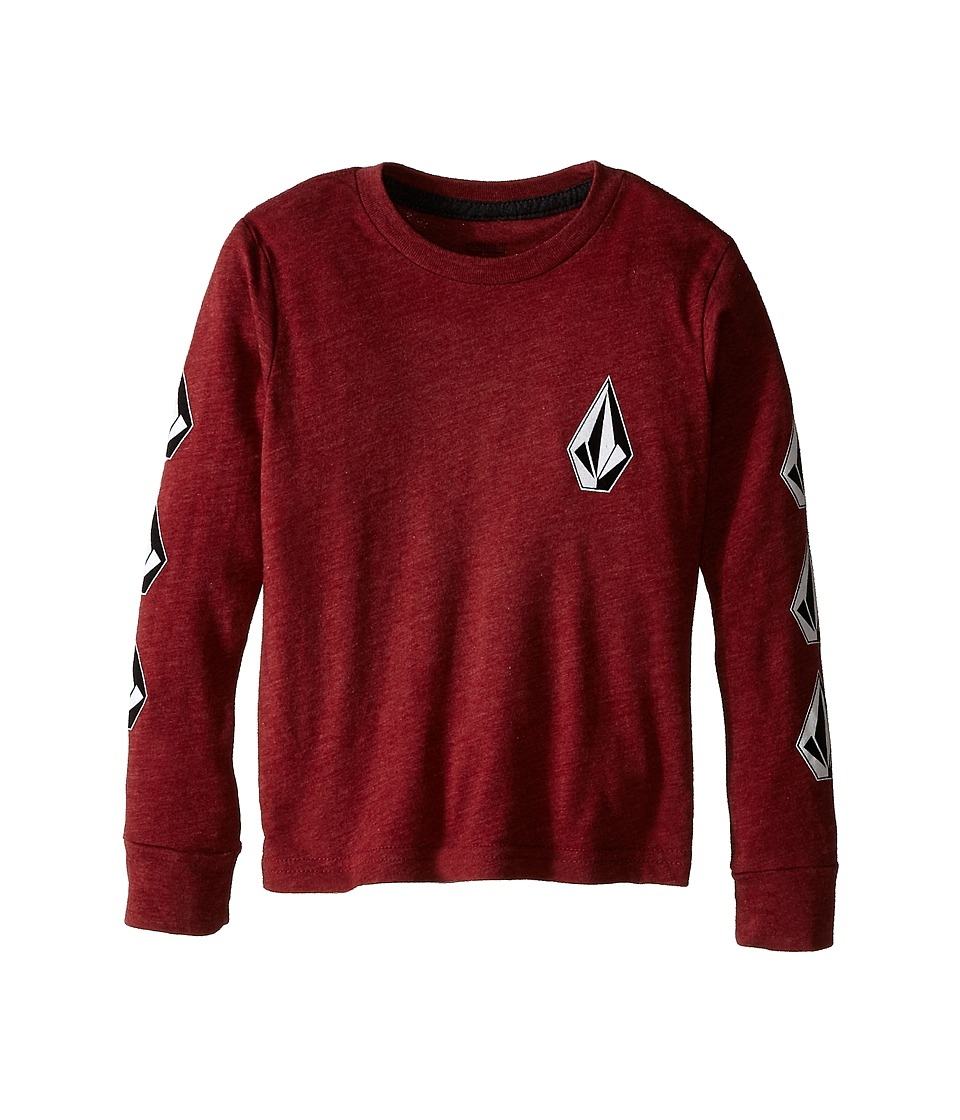 Volcom Kids - Say When Long Sleeve Tee (Toddler/Little Kids) (Crimson) Boy's T Shirt