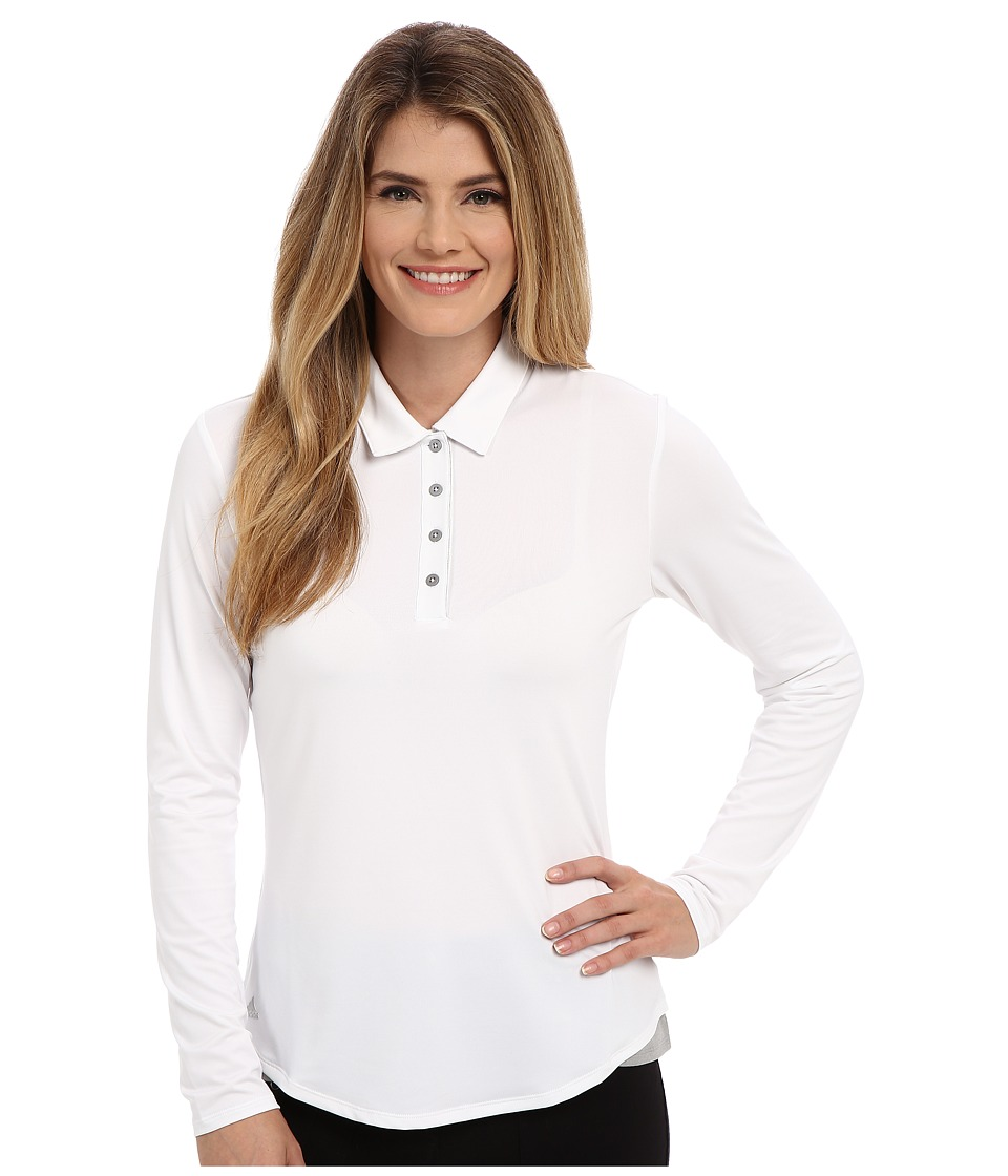 adidas Golf - Essentials 3-Stripe Long Sleeve Polo (White/Medium Grey Heather) Women's Long Sleeve Pullover